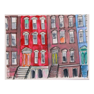 Abstract New York City Brownstone Building Painting