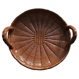 Rattan Style Ceramic Tray From Portugal For Sale