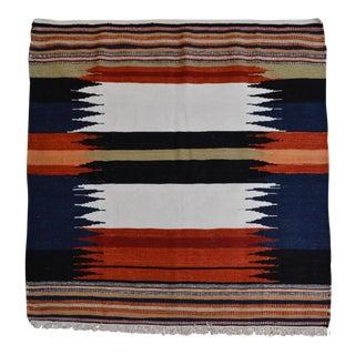 Kilim Sofreh Kamo HandmadeMulti Colour Wool Rug - 3′4″ × 3′9″