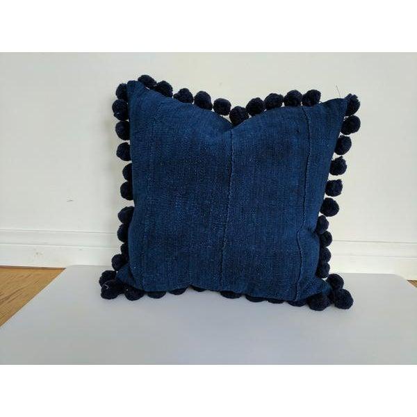 Solid Indigo Mudcloth Pom Poms Pillow - Image 4 of 6