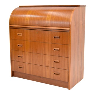 1970s Mid-Century Modern Teak Roll Top Desk