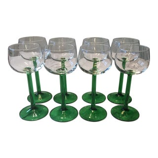 1960s French Vintage Green Stem Wine Glasses - Set of 8 For Sale