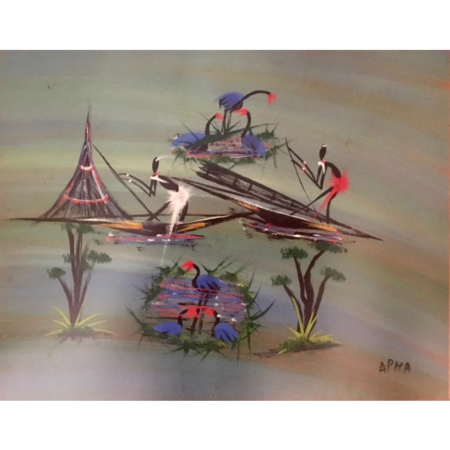 Stylized African Scenes Paintings - a Pair - Image 6 of 8