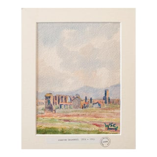 "Sir Winston S. Churchill ""Landscape With Ruins"" Vintage Watercolor Painting For Sale"