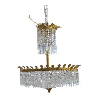 Vintage Antique Neoclassical Crystal and Brass Chandelier, C1940 For Sale