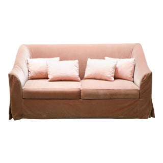 Christian Liaigre Modern Sofa in Pink Velvet with 4 Pillows For Sale
