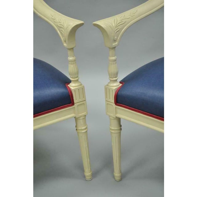 Cream Lacquered Chinoiserie Blue Barrel Back Lounge Club Arm Chairs - A Pair For Sale - Image 4 of 10