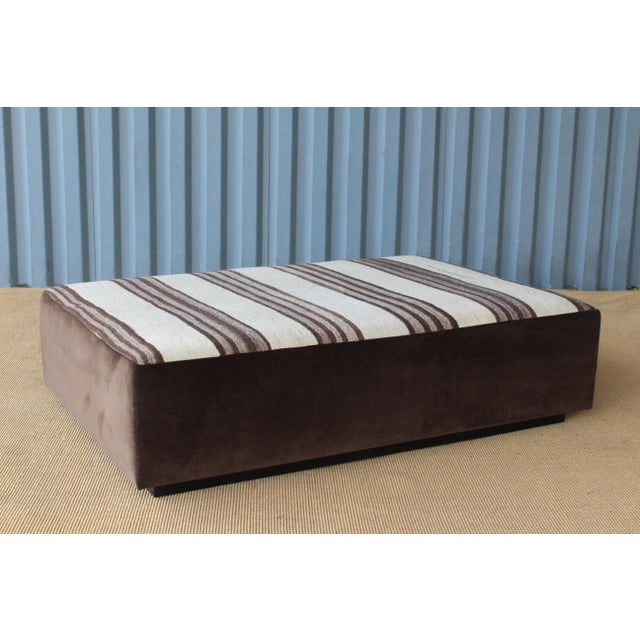 Wood Upholstered Ottoman in Vintage Striped Navajo Rug For Sale - Image 7 of 11