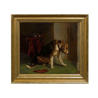 19th Century, English Dog Oil on Canvas Painting after Landseer's 'Suspense'