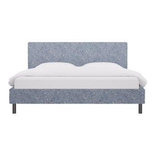 King Tailored Platform Bed in Blue Aviary By Scalamandre For Sale