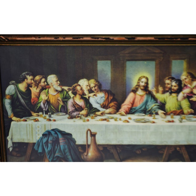 Early H. Zabateri Framed Last Supper Print - Image 4 of 10