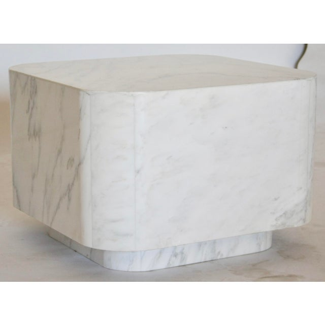 White Marble Plinth Base Table For Sale - Image 4 of 7