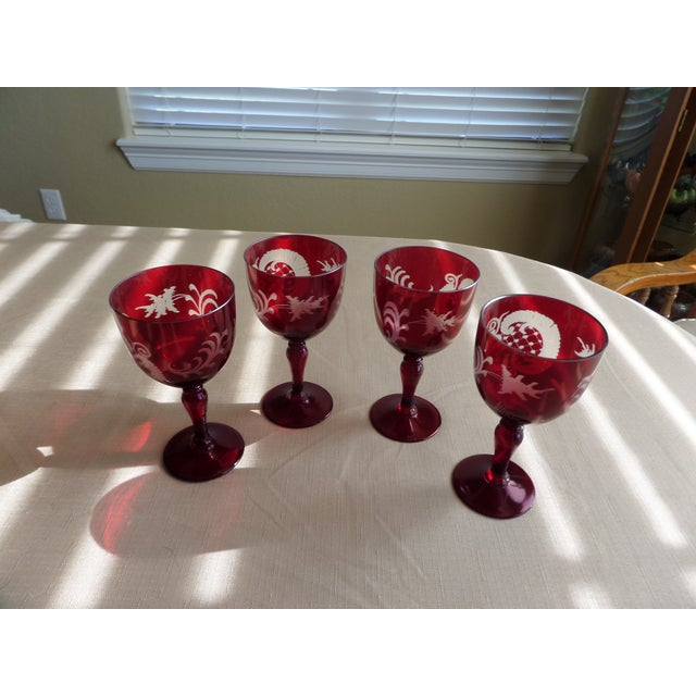 Boho Chic Bohemian Ruby Cut to Clear Wine With Etched Design on Glasses - Set of 4 For Sale - Image 3 of 9