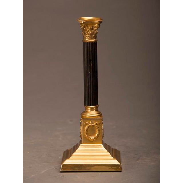 Mid 19th Century 19th Century Empire Style Bronze Doré And Patinated Bronze Candlesticks - A Pair For Sale - Image 5 of 8