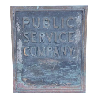"1900s Bronze ""Public Service Company"" Sign For Sale"
