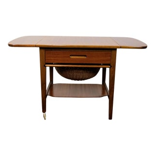 1960s Mid-Century Modern Drop Leaf Sewing Table For Sale