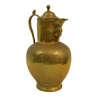 English Brass Wine Jug or Pitcher, 19th Century For Sale