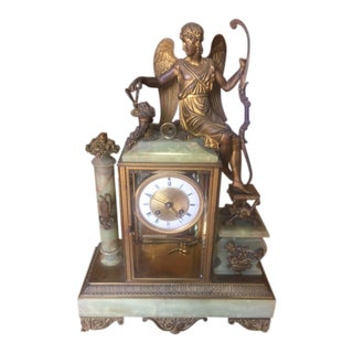 19th Century Neoclassical French Oynx & Dore Bronze Clock For Sale
