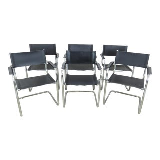 Vintage Mart Stam Style Chrome and Black Leather Cantilever Arm Chairs - Set of 6 For Sale