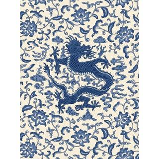 Red by Scalamandre Peel & Stick Wallpaper, Chi'en Dragon, Indigo For Sale