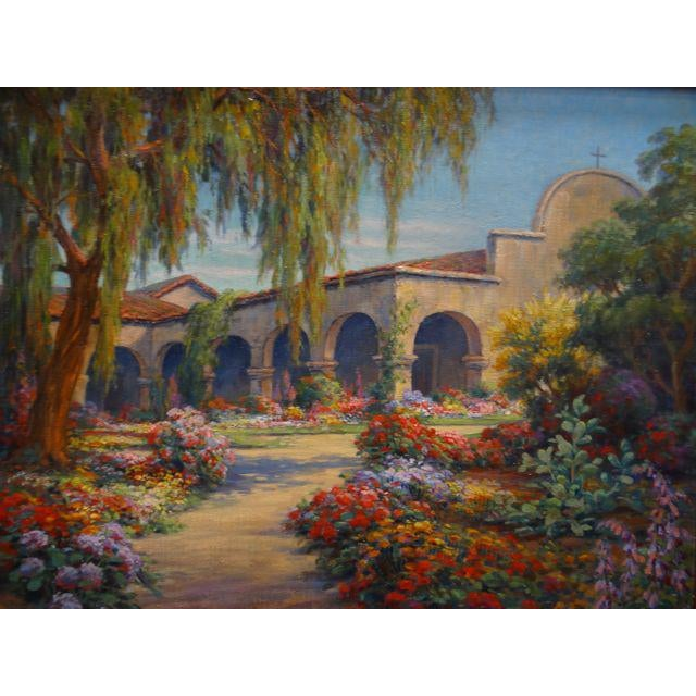 Early 20th Century Early 20th Century Antique Marius Smith Mission Floral Landscape Painting For Sale - Image 5 of 9