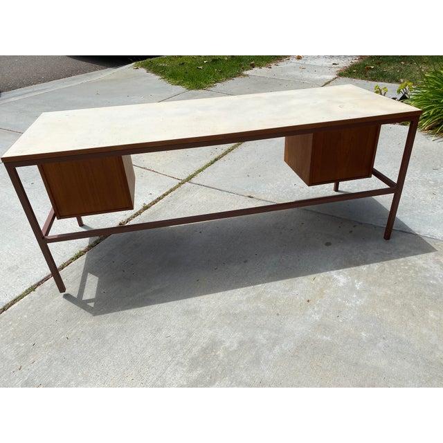 1950s Jens Risom Early Teak, Metal and Vinyl Oversized Desk For Sale - Image 5 of 12