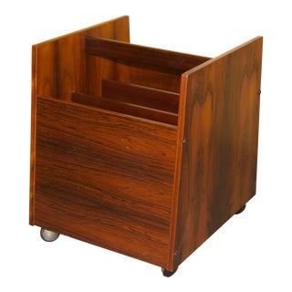 Rosewood Magazine Rack/ Lp Caddy by Rolf Hesland for Bruksbo For Sale