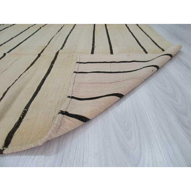 Vintage Striped Natural Turkish Kilim Rug - 5′7″ × 9′8″ For Sale In Los Angeles - Image 6 of 6