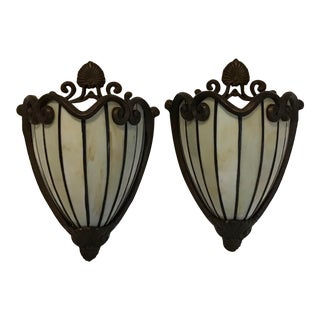 Art Deco Nouveau Slag Sconces Lighting - a Pair For Sale