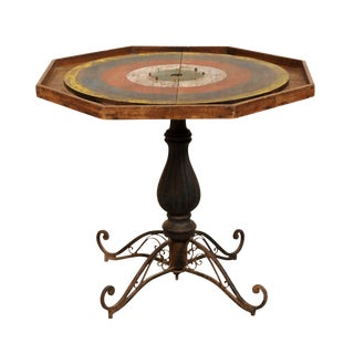 19th Century Rustic Crokinole Gaming Pedestal Table For Sale