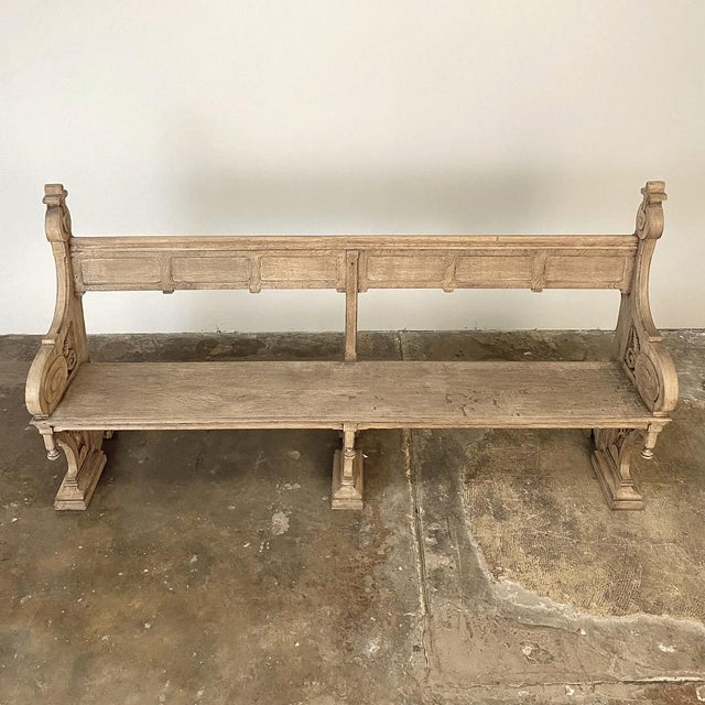 Greige 19th Century Gothic Revival Church Pew, Bench For Sale - Image 8 of 13