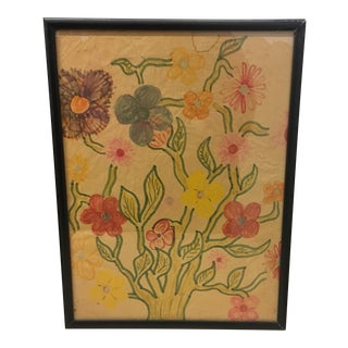 Drawing - Folk Art Floral Drawing For Sale