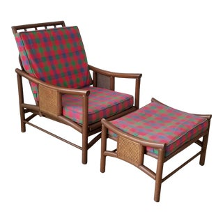 John Wisner Mid-Century Modern Bamboo and Cane Lounge Chairs W/ Ottoman . For Sale