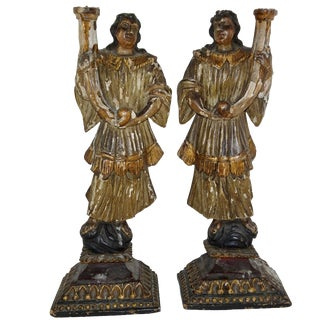 18th Century Carved Gilt and Paint Italian Figures Candle Holders - a Pair For Sale