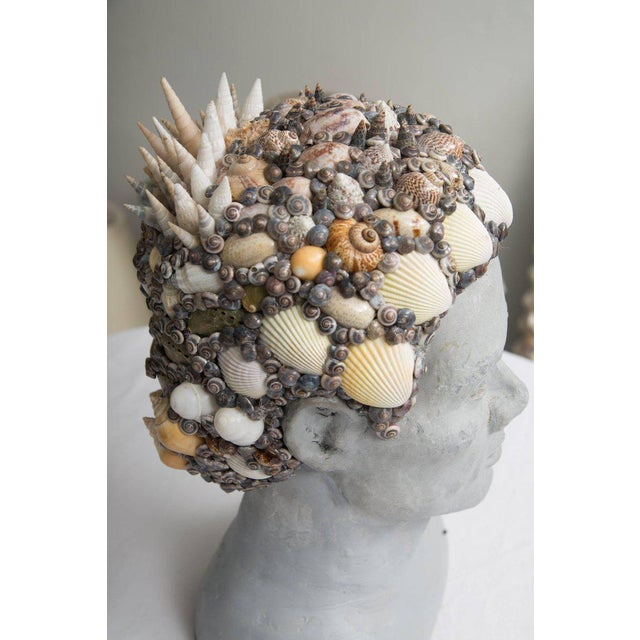 Contemporary Grey Composition Bust with Custom Shell Decoration For Sale - Image 3 of 6
