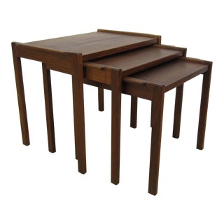 1950s Mid-Century Jens Risom Walnut Nesting Tables - Set of 3 For Sale