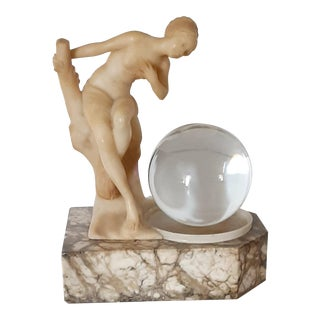 1920s Art Deco Marble & Alabaster Nude Woman Gazing Into Solid Crystal Ball Newel Post Lamp For Sale