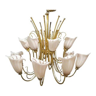 Vintage Murano Venini Brass Two-Tier Chandelier For Sale