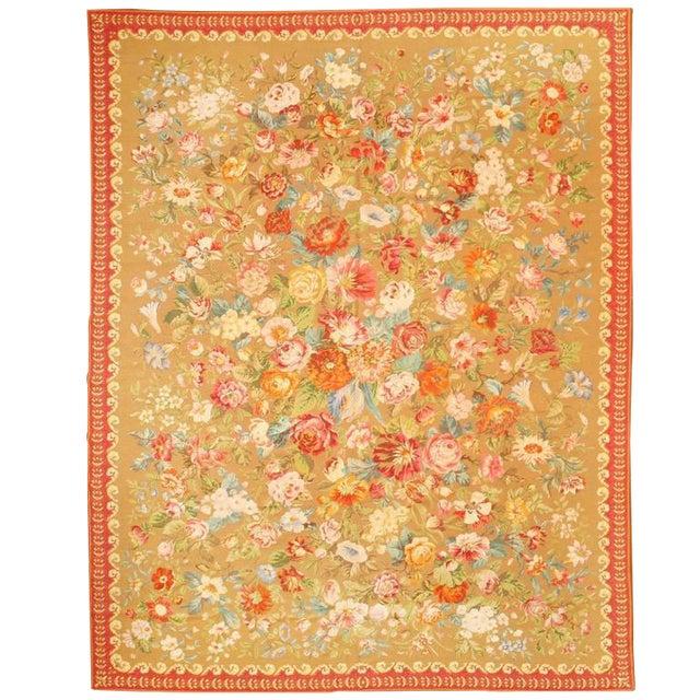 Antique English Needlework Carpet For Sale