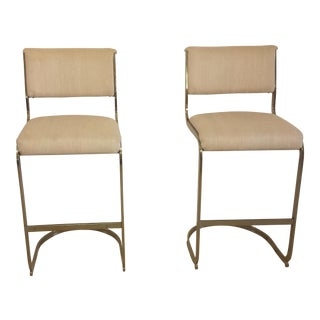 Milo Baughman Mid-Century Hollywood Regency Cantilevered Bar Stools - a Pair
