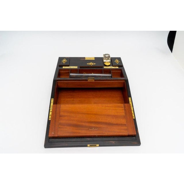Metal 1880s Edwardian Brass & Wood Traveling Lap Desk with Original Key For Sale - Image 7 of 13