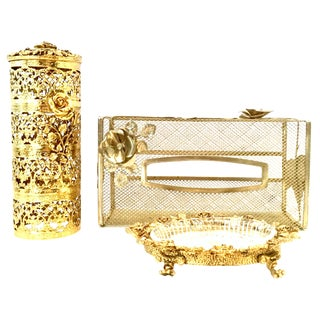 20th Century Rococo Style 24-Karat Gold Gilt Brass Three-Piece Vanity Set For Sale