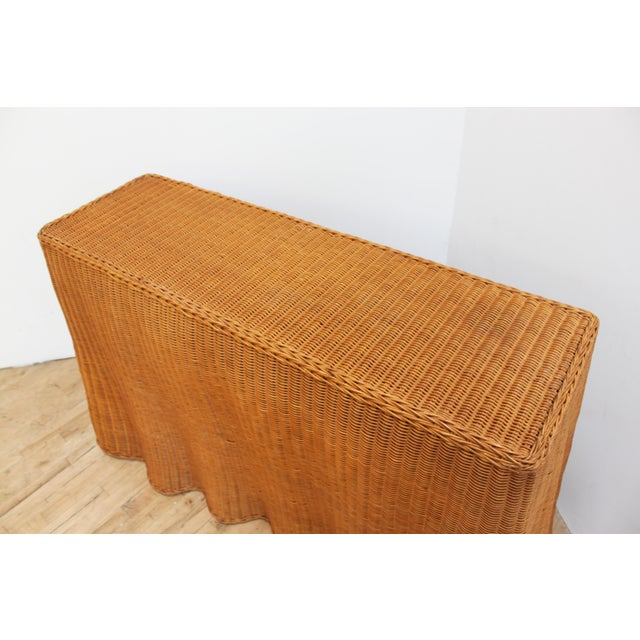 Vintage Trompe l'Oeil Wicker Draped Console Table For Sale - Image 4 of 11