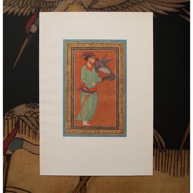 Lithograph 1940s Persian Original the Falconer Lithograph For Sale - Image 7 of 9