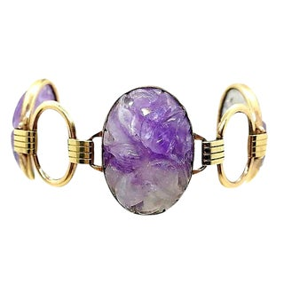 1950s Engel Brothers Carved Amethyst Bracelet For Sale