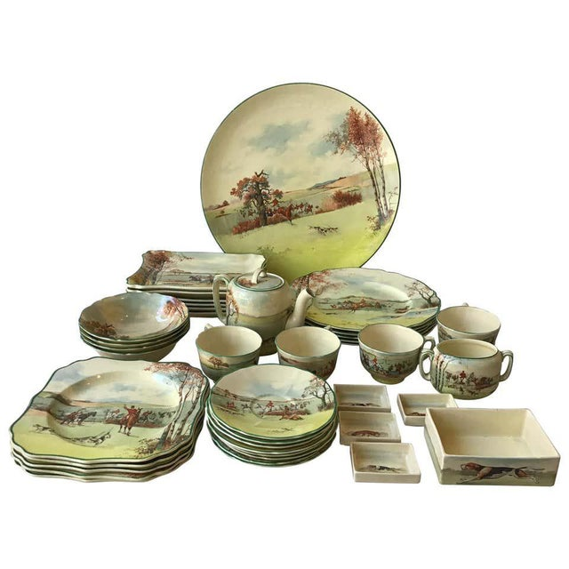 Light Green Royal Doulton Fox Hunting D 5104 Dish Set - 40 Pieces For Sale - Image 8 of 8