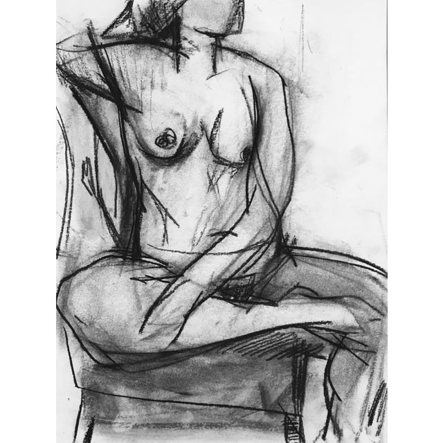"This charcoal drawing is part of a series of works on watercolor paper depicting the female body. ""The relationship..."