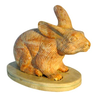 Carved Pink Marble Rabbit For Sale