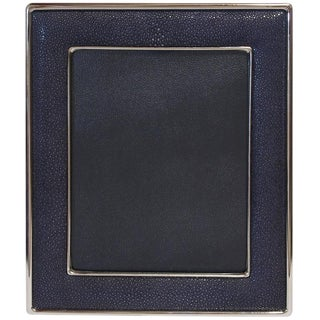 Black Shagreen Nickel-Plated Photo Frame For Sale