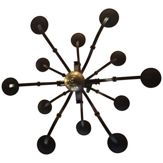 Tommy Hilfiger Wrought Iron Chandelier For Sale In Los Angeles - Image 6 of 7